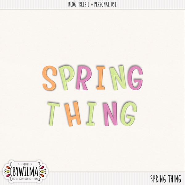 Digital Scrapbooking Freebie Spring Thing byWilma Alpha