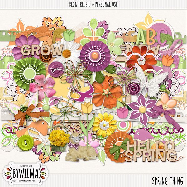 Digital scrapbooking freebie - Spring Thing byWilma - Elements