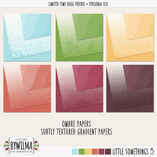 Digital scrapbooking freebie - gradient and ombre papers digidesigned byWilma