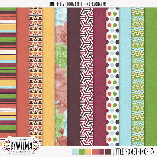 digital scrapbooking freebie - solid and patterned papers digidesigned byWilma